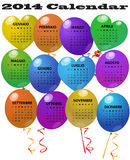 2014 balloon calendar. Illustration of 2014 balloon calendar in italian language Stock Photography