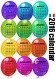 2016 balloon calendar. Illustration of 2016 balloon calendar in italian language Royalty Free Stock Photos