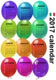 2017 balloon calendar. Illustration of 2017 balloon calendar in italian language Stock Photos