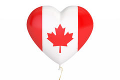 Balloon with Canada flag in the shape of heart, 3D rendering. Balloon with Canada flag in the shape of heart, 3D Royalty Free Stock Photos