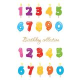 Balloon and candle colorful numbers. Birthday party and celebration design elements set. Vector Royalty Free Stock Image