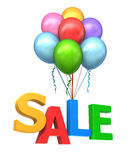 Balloon carrying the word sale. Clipping path included stock illustration