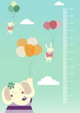 Balloon cartoons ,Meter wall or height meter from 50 to 180 centimeter,Vector illustrations Stock Photos