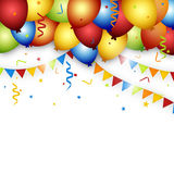 Balloon celebration background with flags, confetti and ribbons. Stock Images