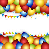 Balloon celebration background with flags, confetti and ribbons. Royalty Free Stock Image