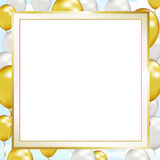 Balloon Up Frame. Celebrate formal events, grand openings, a 25th or 50th anniversary, or any special occasion with this gold & silver frame Royalty Free Stock Photos