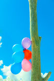 Balloon chain in the sky Stock Images