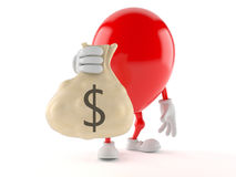 Balloon character holding money bag. On white background Stock Photos