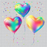 Balloons on transparent background 3D. Balloons 3D flying and confetti isolated on checkered transparent background for Birthday, Holiday, Christmas, Carnival Royalty Free Stock Photo