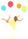 Balloon Child Exploration and Peaceful Travel. Adorable young girl child floating away on balloon travel exploration with clipping path over white stock image