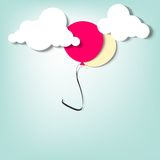 Balloon in the clouds. Creative  applique Royalty Free Stock Photo