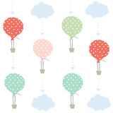 Balloon and clouds vector background Royalty Free Stock Photography
