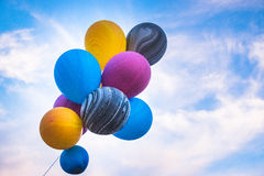 Balloon with colorful on blue sky. Happy Day Royalty Free Stock Photo
