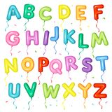 Balloon colorful font for kids. Letters from A to Z for birthday. Party, baby shower vector illustration