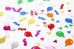 Balloon Confetti. Colorful balloon confetti isolated on white Stock Image