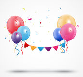 Balloon with confetti and birthday bunting flags Royalty Free Stock Image