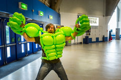Balloon costume of the `Incredible Hulk` Royalty Free Stock Photography