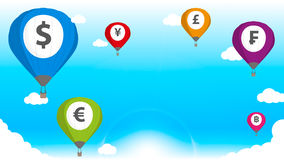Balloon Currency. Balloon Color Currency in sky Stock Photography
