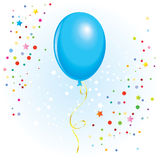 Balloon with dangling curly ribbon. Azure balloon with dangling curly ribbon in  format Royalty Free Stock Photo