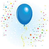 Balloon with dangling curly ribbon. Blue balloon with dangling curly ribbon in vector format Royalty Free Stock Photos