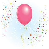 Balloon with dangling curly ribbon. Pink balloon with dangling curly ribbon in  format Stock Photos
