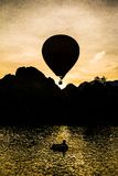 Balloon in the dawn of the day. At Vang Vieng, Laos Royalty Free Stock Photos