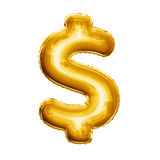 Balloon Dollar currency symbol 3D golden foil realistic Royalty Free Stock Photography