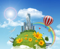 Balloon with earth and city Royalty Free Stock Photography