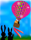 Balloon with Easter egg and rabbits. Pink balloon with Easter Bunny and polka dot egg Royalty Free Stock Photos