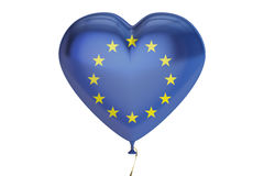 Balloon with EU flag in the shape of heart, 3D rendering Royalty Free Stock Photos