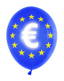 Balloon with euro symbol. Inflatable balloon with euro symbol isolated on white Royalty Free Stock Photography