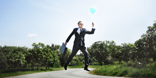 Balloon Executive Flying Success Business Rise Start Concept Royalty Free Stock Photography