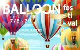 Balloon festival ads. Hot air balloon tour for travel agency and website in 3d illustration, colorful hot air balloons flying in the air Stock Photos