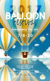 Balloon festival ads. Hot air balloon tour for travel agency and website in 3d illustration, lovely hot air balloon in blue and yellow flying in the clear blue Stock Images