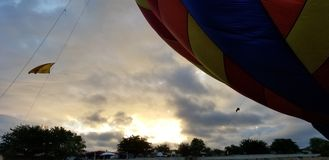 Birth of a hot air balloon stock image
