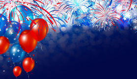 Balloon and fireworks with bokeh background Royalty Free Stock Photography