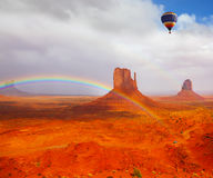 Balloon flies over  Desert Navajo Royalty Free Stock Image