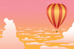 Balloon flight. Hot air balloon flying above the clouds. Vector illustration Stock Image
