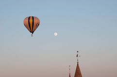 Balloon flight. Balloon on background of the moon and the castle Royalty Free Stock Photography