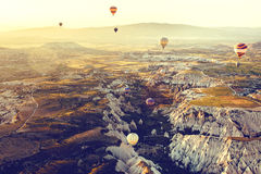 Balloon flight. The famous tourist attraction of Cappadocia is an air flight. Cappadocia is known all over the world as stock photography