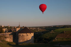 Balloon flight. Balloon flying near the Castle Royalty Free Stock Images