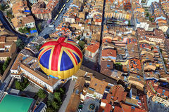Balloon flight over the city Vic. Spain Royalty Free Stock Photos