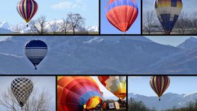 Balloon flights montage. Hot-hair balloons in the sky, collage stock video
