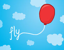 Balloon with fly word over the sky. Cartoon illustration of a floating balloon with fly word as a string royalty free illustration