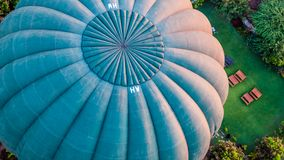 Balloon flying over Bagan. Close-up of a blue balloon flying over Bagan in Myanmar Royalty Free Stock Images
