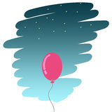 Balloon flying in the sky stock photography