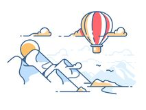 Balloon flying in sky above mountains. Adventure and travel. Vector illustration Stock Photos