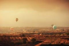 Balloon foggy morning in Cappadocia. TURKEY. blurred images Royalty Free Stock Photos