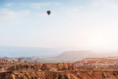 Balloon foggy morning in Cappadocia. TURKEY. blurred images Stock Images