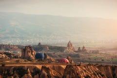 Balloon foggy morning in Cappadocia. TURKEY. blurred images Stock Photo